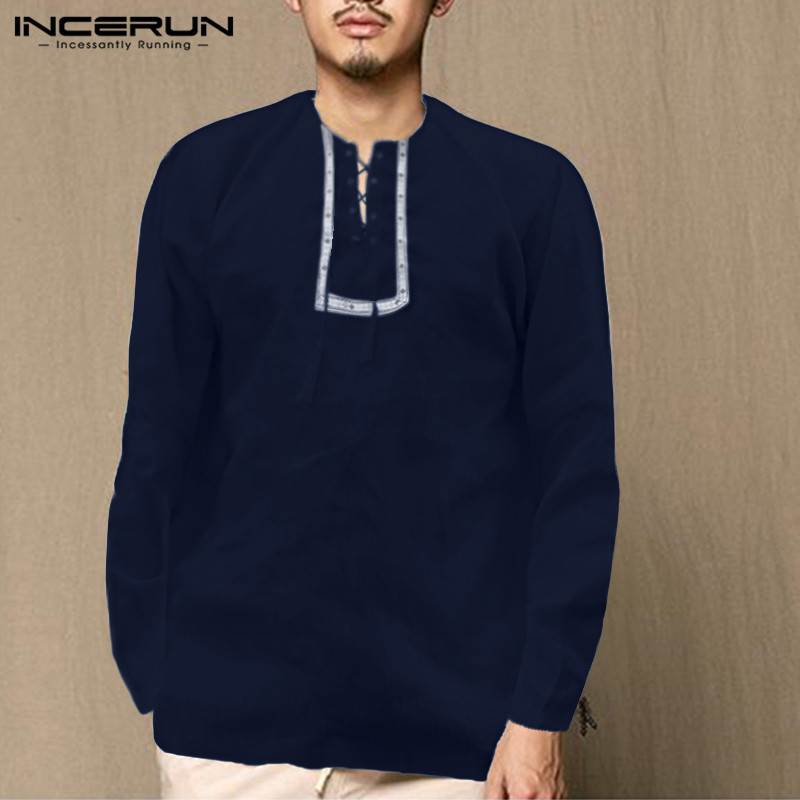 INCERUN Vintage Men Shirts Solid Color Printed Neck Lace Up Casual Retro Nepal Mens Tops Long Sleeve Ethnic Style Shirts 2020