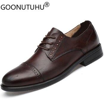 2020 new fashion men's shoes dress genuine leather cow elegant office shoe man wedding party comfortable formal for men hot sale