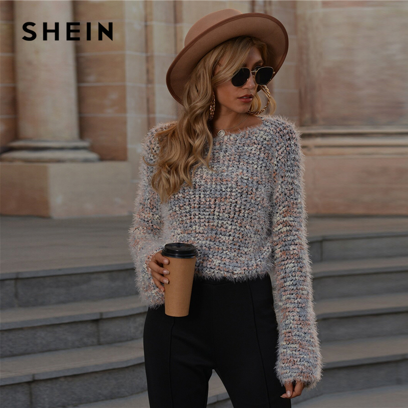 SHEIN Multicolor Drop Shoulder Fuzzy Knit Sweater Women Autumn Winter Long Sleeve Boat Neck Casual Soft Sweaters|Pullovers| - AliExpress