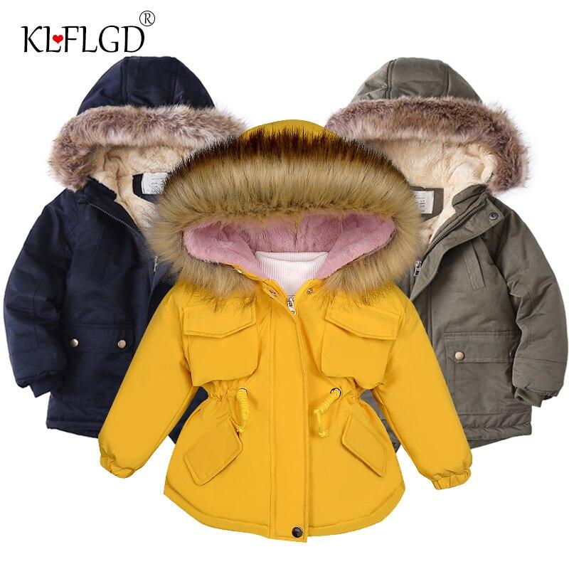 Джинсовая куртка для маленьких девочек с мехом, теплая детская зимняя одежда для девочек с хлопковой подкладкой, утепленное Детское пальто ...