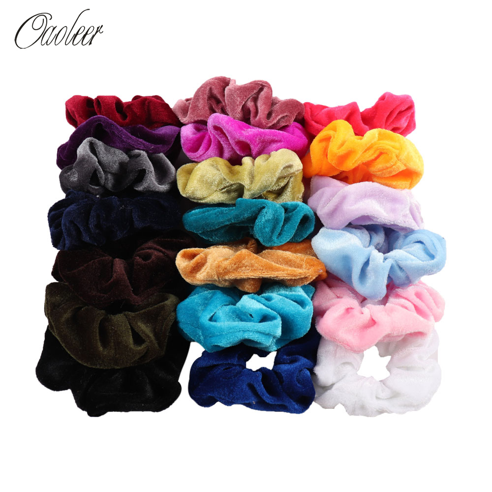 25Pcs Women Solid Velvet Scrunchies Elastic Hair Bands Ponytail Holder Hair Scrunchies Rubber Band Headband Gum Hair Accessories
