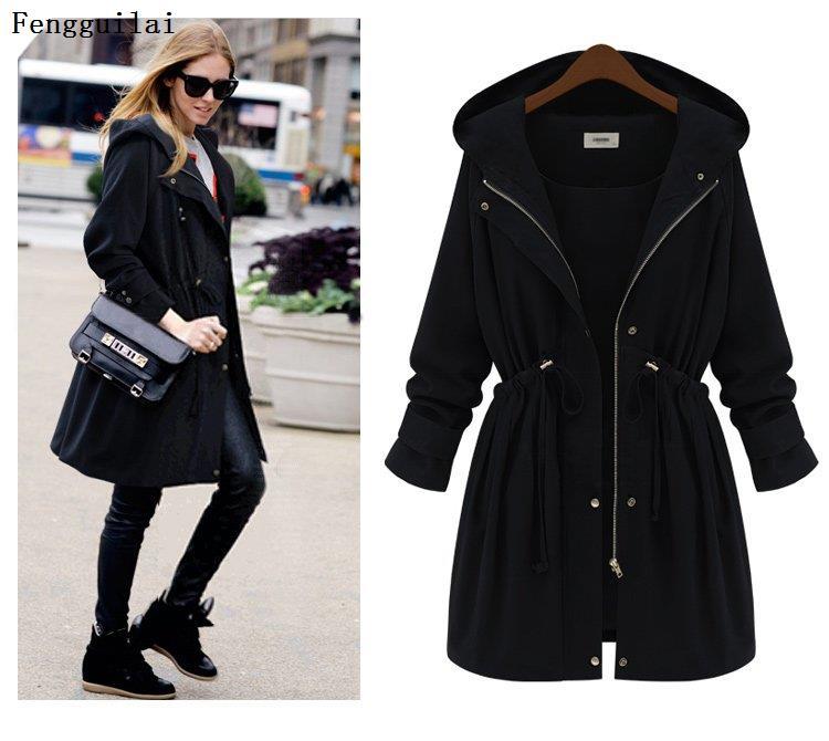 Plus Size 2019 Autumn Winter Women Fashion Hooded Puff Sleeve Women Trench Coat for Women Womens Plus Size Fashions Jacket