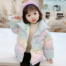 Baby Girls Clothes Down Toddler Kids Girls Winter Keep Warm Rainbow Coat Down Jacket Padded Overcoat Winter Long Sleeve Jacket