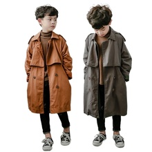 Boy girl Trench Coat High Quality Long Coat Teenagers Outerwear winter Fall Turn-down Collar Casual Handsome boys Cotton Clothes