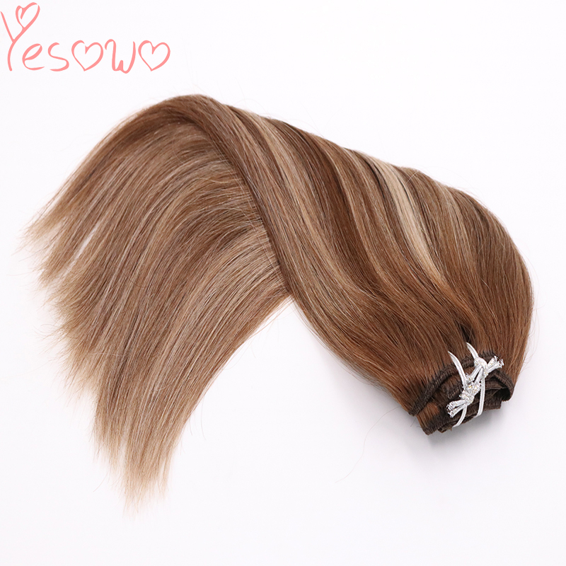 New arrival High Quality 4/27/4# Ombre Indian Human Hair Remy Extensions 14Inch 24Inch 100g 9pcs Full Head Clip In Hair