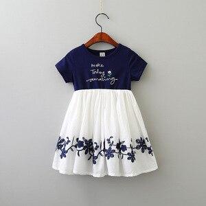 2020 été tenue décontractée robe florale broderie robes Patchwork mousseline de soie robes fille vêtements enfants à manches courtes vêtements