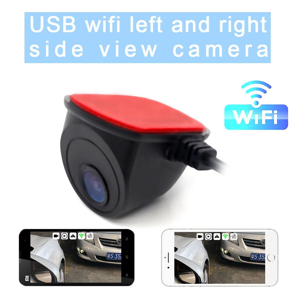 Caméra de voiture sans fil WiFi caméra de Vision nocturne grand Angle vue latérale pour IOS et Android caméra de stationnement arrière pour téléphone