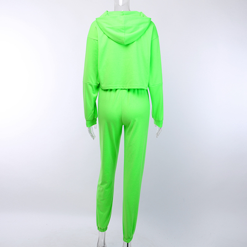 H843b0947821a41eda5827f7cea36b90ex - OMSJ Autumn Neon Green Two Piece Set Women Lace Up Outfits Solid Orange Casual Suit Female Clothing Crop Top and Pants Tracksuit