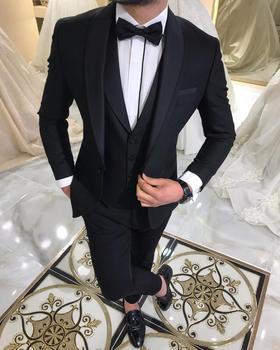 Blue Slit Mens Suits 3 Piece Black Shawl Lapel Casual Tuxedos for Wedding Groomsmen Suits Men 2020 (Blazer+Vest+Pant) 17