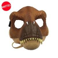 Original Mattel Jurassic World 2 Dinosaur Partysaurus Rex Realistic Mask Cosplay Props Halloween Costumes Toy for kids Adults