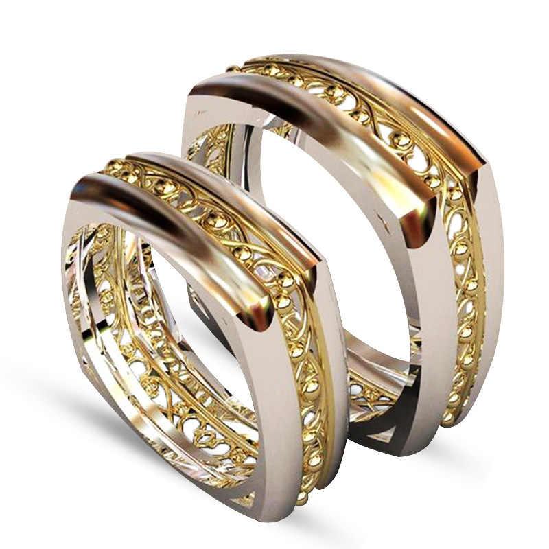 Kupfer Zwei-ton Gold-überzogene Ring Mode-Design Europäischen und Amerikanischen Paare Engagement Ring Schmuck