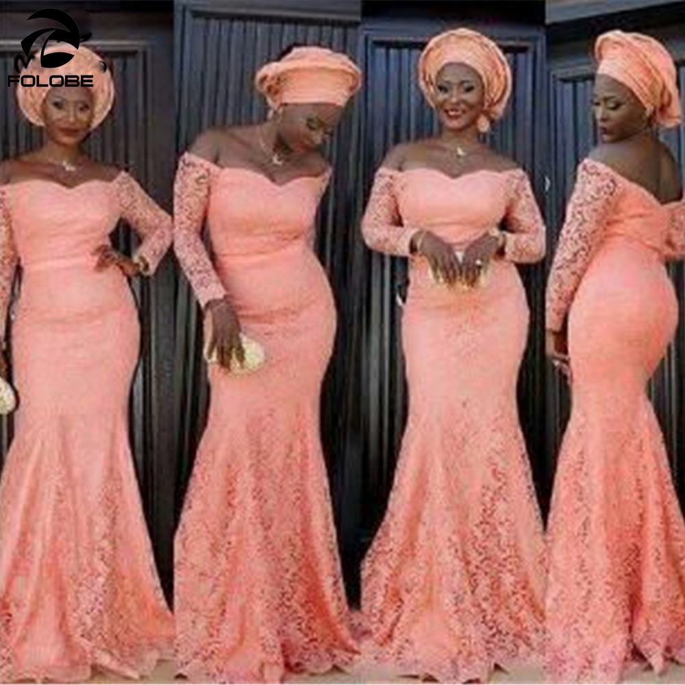 Peach Lace Mermaid Bridesmaid Dresses 2020 African Formal Party Dress For Wedding Floor Length Long Maid Of Honor Gowns
