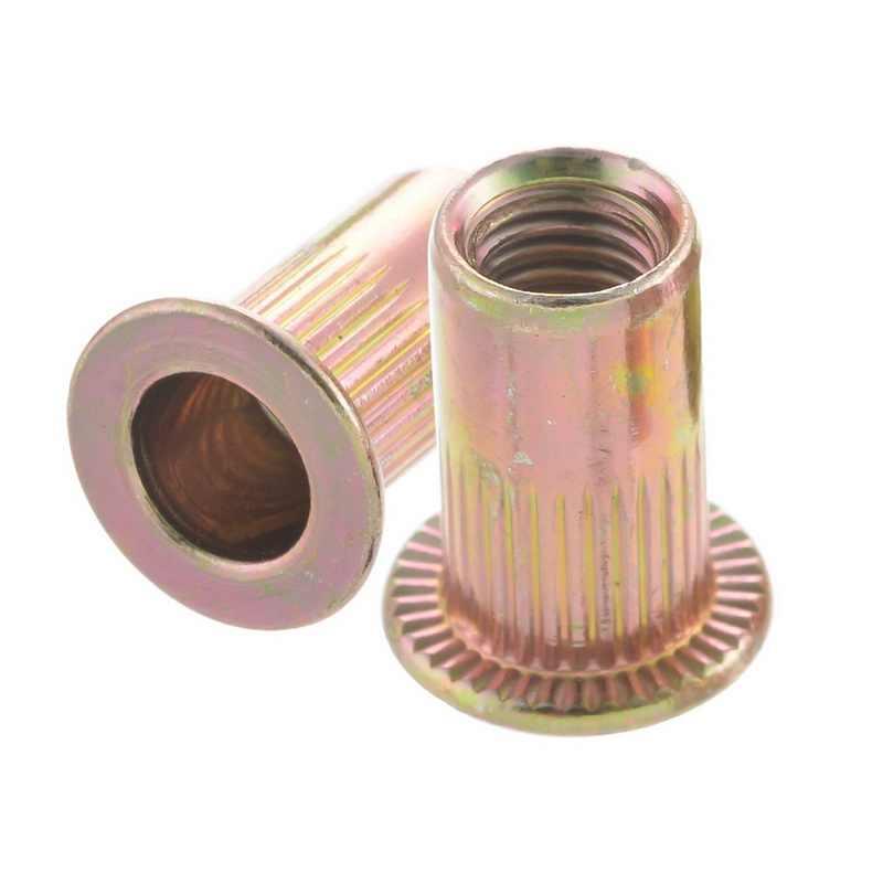 Rivet nut Carbon steel Flat head Fastener Tool Equipment 100pcs Insert
