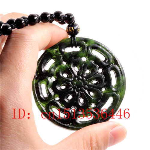 Hollow Out Double-sided Carved Flowers Jade Pendant Natural Chinese Black Green Necklace Charm Jewellery Fashion Amulet Gifts