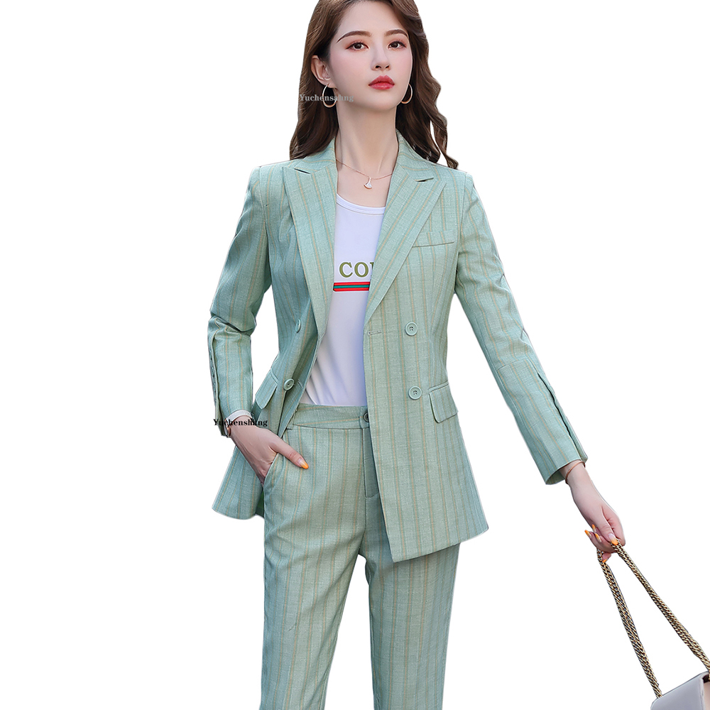 New Women Double Breasted Pant Suit S-5XL Casual Green Khaki Pink Stripe Jacket Blazer And Pant 2 Piece Suit Set