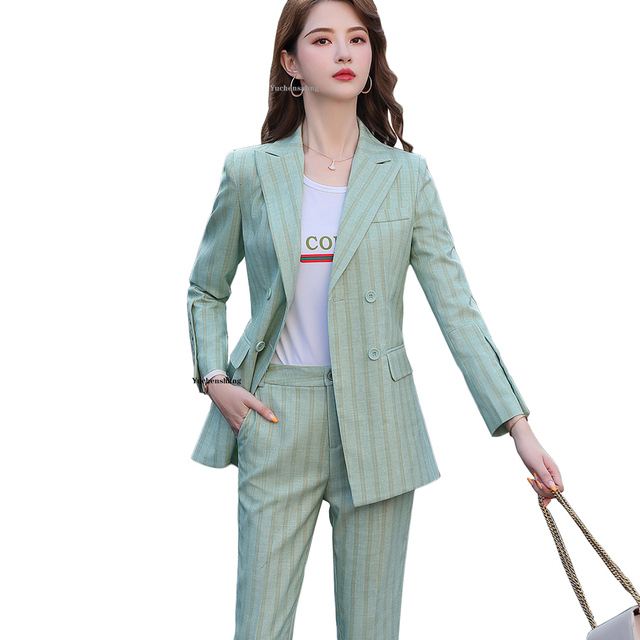 New Women Double Breasted Pant Suit S 5XL Casual Green Khaki Pink Stripe Jacket Blazer And Pant 2 Piece Suit Set