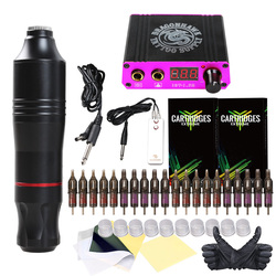 Kit de tatuaje de pluma rotativa profesional juego de pigmentos inmortales LCD Mini Power Tattoo Equipment Supplies