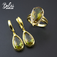Bolai color change zultanite jewelry sets 925 sterling silver created diaspore dangle earrings ring yellow gold gemstone women's