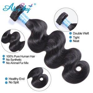 Image 4 - Ali gökyüzü vücut dalga demetleri ile kapatma ile brezilyalı saç demetleri ile Frontal insan saçı Frontal ile paket Remy saç ekleme