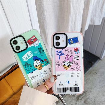Disney kaczor Donald etui na telefon do 11 12 Pro Max 12 Mini X XS XR 7 8 8Plus Anime TPU kaczor Donald bilet TPU miękka powłoka okładki tanie i dobre opinie CN (pochodzenie) Tpu- Donald duck pink tpu- Donald duck green apple Animals Rear cover Simple Machine processing