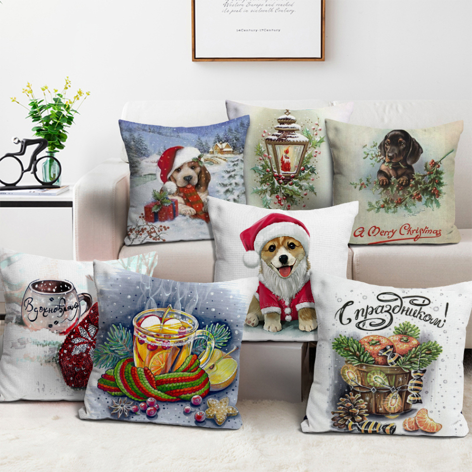 Nanacoba Счастливого Рождества чехлы с рисунком собачки и котика
