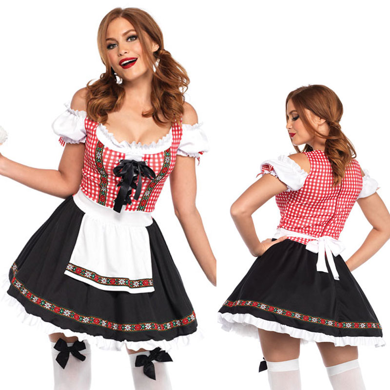 Women/'s Bavarian Wench Costume Dress Apron Oktoberfest S XL Fancy Dress Outfit