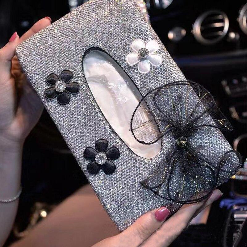 Bling cristal Daisy arcs voiture accoudoir siège dos boîte à mouchoirs en cuir Auto papier support de la boîte housse amovible papier serviette boîte D