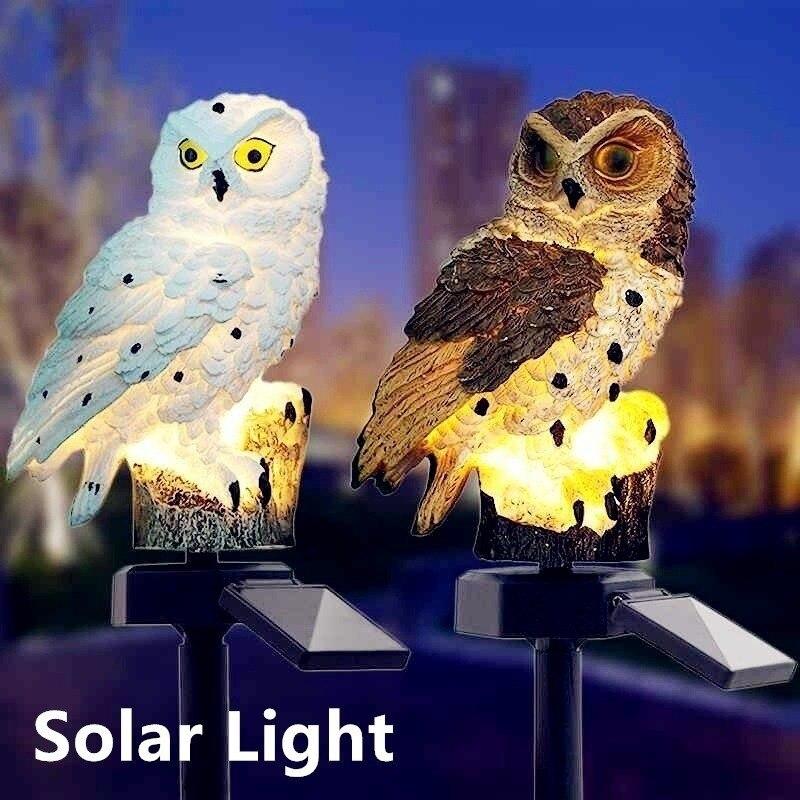 Водонепроницаемый светодиодный светильник на солнечной батарее, садовая лампа для дорожек, двора, газона, совы, украшение для животных, 1/2 ш...