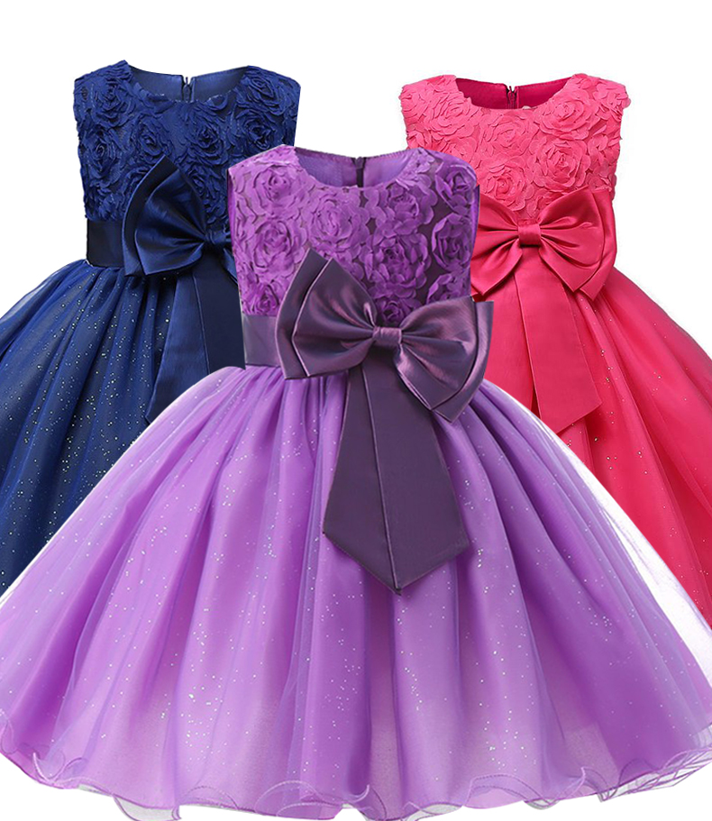 Flower Girls Dress <font><b>Winter</b></font> Kids <font><b>Clothes</b></font> Bow Formal Princess Dresses <font><b>For</b></font> Girls Wedding Party Dress <font><b>Children</b></font> Clothing <font><b>8</b></font> 10 12 <font><b>Year</b></font> image