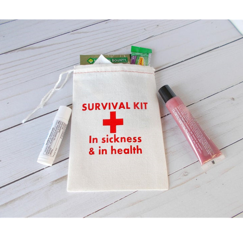 Personalized Survival Kit Bag Wedding Welcome Gift Bag Bachelorette Hangovers Bags Muslin Drawstring Welcome Bags Recovery Bag