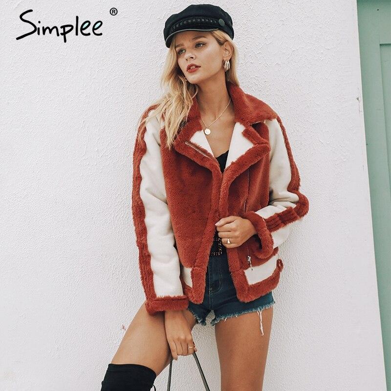 Simplee Elegant Faux Fur Coat Women 2018 Autumn Winter Warm Soft Zipper Fur Jacket Female Plush Overcoat Casual Outwear