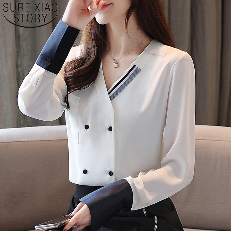 Blouse Women 2019 Button Long Sleeve Solid Blusas Chiffon Blouse Shirt For Women Tops White Long Sleeve V-neck  Pockets 5710 50