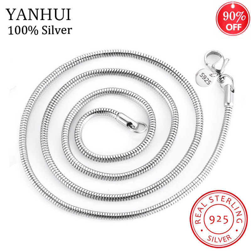 90% taniej! 3 MM/4 MM grubości oryginalny 925 srebrny wąż Chain naszyjniki dla kobiety mężczyźni 45-60CM oświadczenie naszyjniki Fine Jewelry HN192