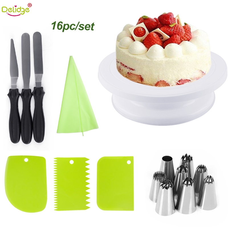 Delidge16pc Cake Decorating Tools Kit Cake Turntable Pastry Spatulas Nozzle For Cream Tube Kitchen Baking Fondant Cake Stand in Decorating Tip Sets from Home Garden