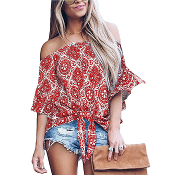 Women Fashion Bat Sleeves Blouse Strapless One-neck Sexy Shirt Summer Casual Loose Print Knotted Top Female Streetwear black chiffon loose bat sleeves cape shawl top