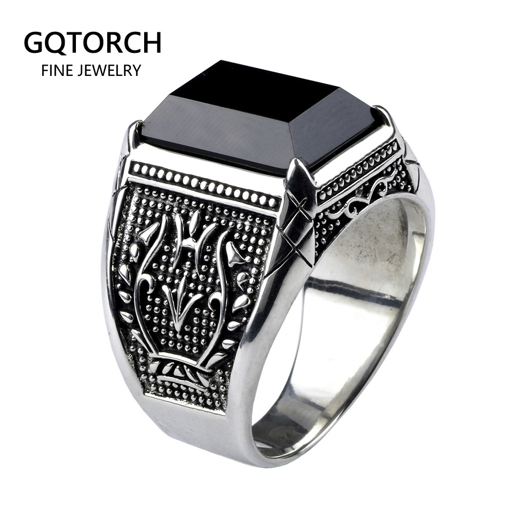 Real Pure 925 Sterling Silver Mens Rings With Black Onyx Natural Stone Rings Retro Flower Engraved Punk Rock Vintage Jewelry