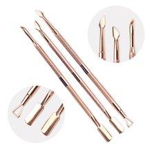 Толкатель для отмершей кожи из нержавеющей стали, разгрузочный клей для лака для ногтей, небольшой стальной фейдер для удаления отмершей кожи, двухголовый стержень двойного назначения