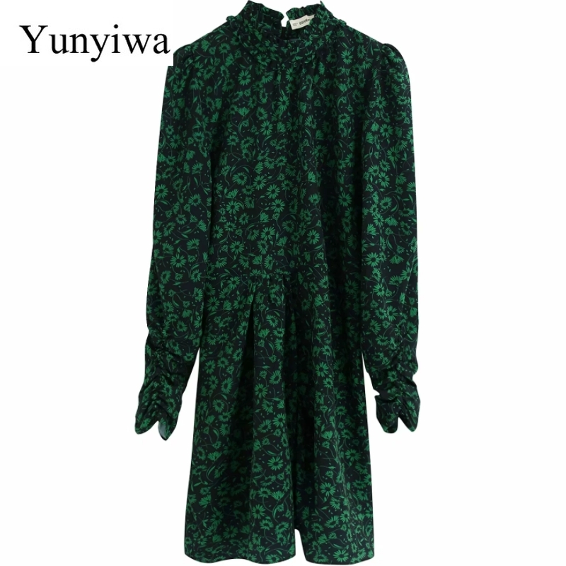 2020 New Women Vintage Green Flower Print Casual Pleats Mini Dress Ladies Puff Sleeve Vestidos Chic Ruffles Party Dresses