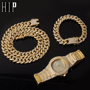 Necklace +Watch+Bracelet 3pcs kit Hip Hop Miami Curb Cuban Chain Gold Full Iced Out Paved Rhinestones CZ Bling For Men Jewelry