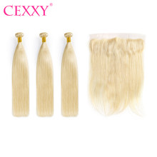 Cexxy Blonde Bundles With Frontal Human Hair Bundles Peruvian Straight Blonde Lace Frontal(China)