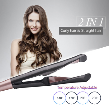 2 In 1 Twisted Hair Iron Portable And Durable Electric Curly Hair Straightener Environment 360° Rotating Ceramic Styling Tool image