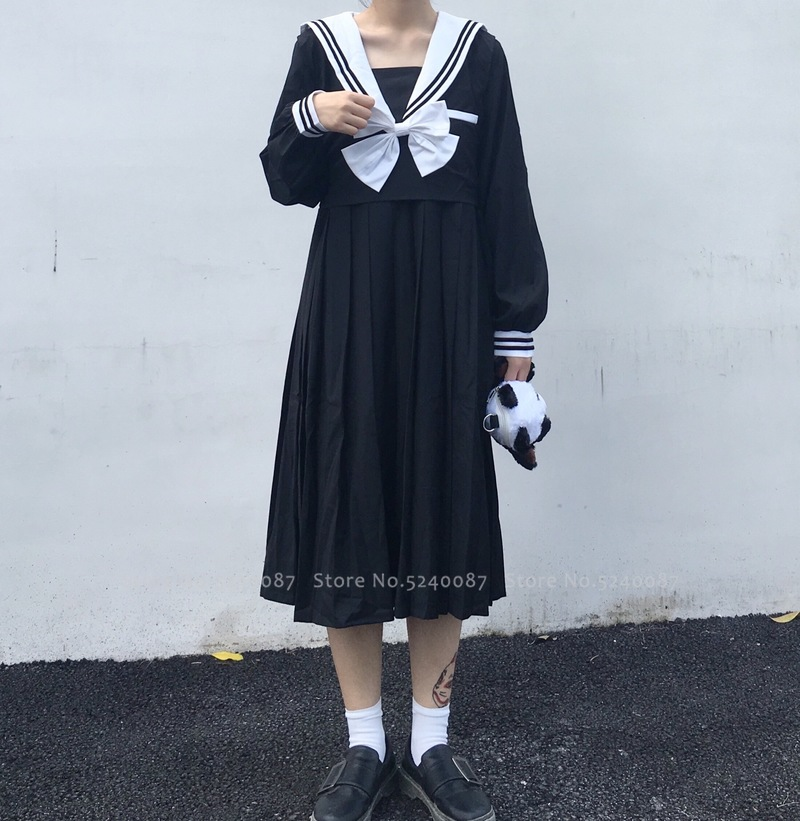Girl Navy Collar Japanese Style Party Dress Women Sailor Pleated Skirt JK Suit High School Uniform Kawaii Anime Cosplay Costumes