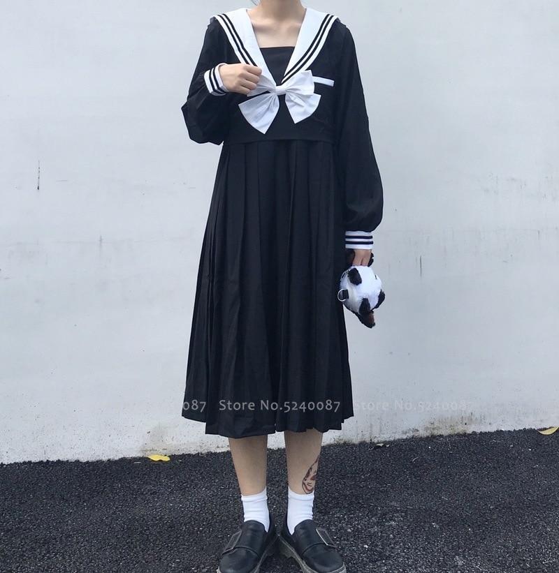 Girl Navy Collar Japanese Style Party Dress Women Sailor Pleated Skirt JK Suit High School Uniform Kawaii Anime Cosplay Costumes