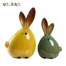 Vilead 2 cores cerâmica orelhas longas coelho ornamentos moderna sala de estar casa decoração suave escultura figura fadas jardim miniaturas