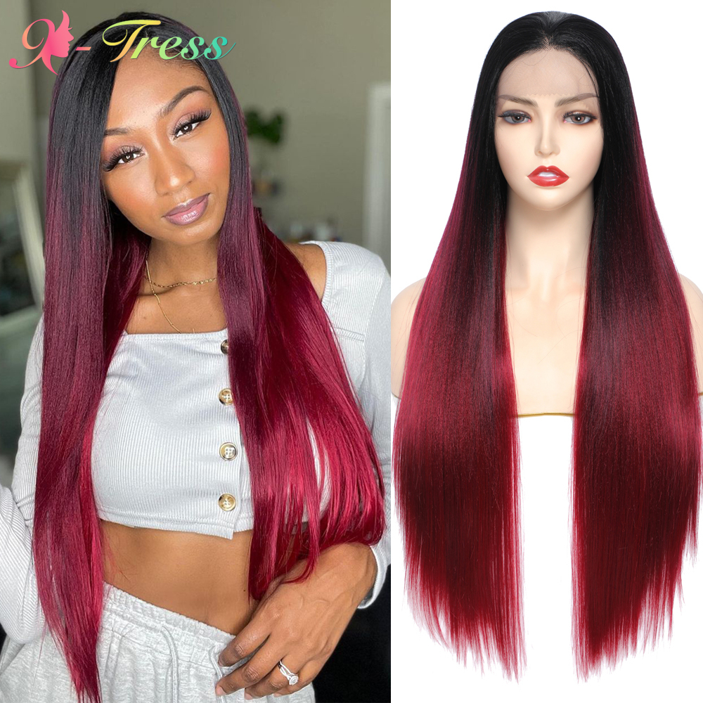X-TRESS Red Wig Synthetic Lace Front Wigs Ombre Free Part Lace Wig with Baby Hair for Black Women Long Straight Red Wine Hair