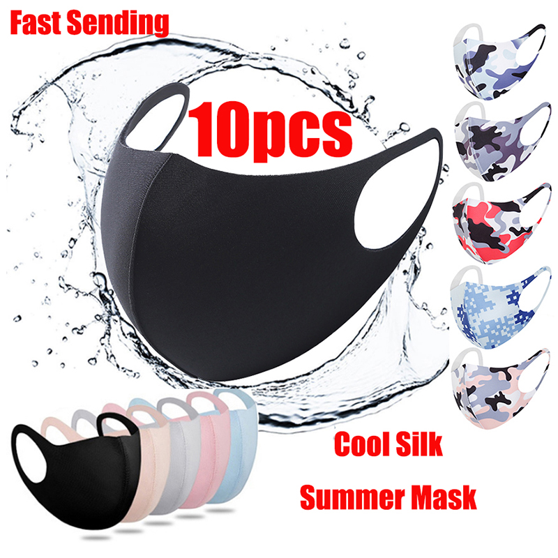 10pcs Black Cloth mouth mask Reusable washable silk fabric flexible earloop Cool summer face mask mouth face  Fast delivery 1