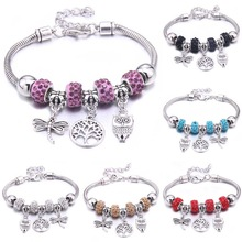 Beads Bracelet Bangles Jewelry Dragonfly Gift Crystal Women Brand Owl-Shape DIY