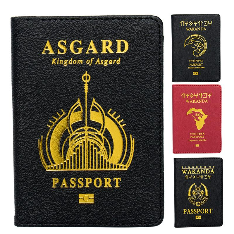 Zoukane Pu Marvel Avengers Passport Cover Travel Accessories Passport Case Black Panther Asgard Shield Passport Cover ZSPC04
