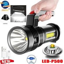 Recarregável super brilhante portátil lanterna led p500 lâmpada + cob luz lateral holofote ao ar livre holofote built-in bateria