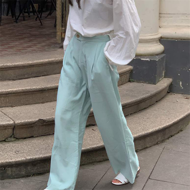 HziriP Peppermint Green Wide Leg Trousers Leisure 2020 Streetwear Chic Straight Large Size Casual Solid Loose High Quality Pants